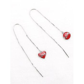 Valentine's Day Love Word Design Drop Earrings -  RED