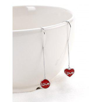 Valentine's Day Love Word Design Drop Earrings - RED RED
