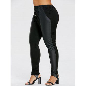 Plus Size Zip Front Skinny Pants - BLACK 3XL