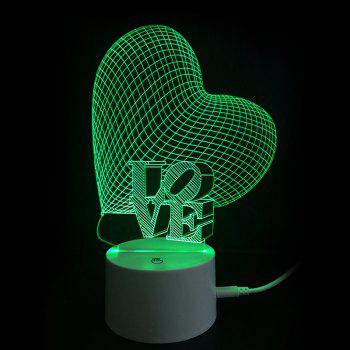 Love Letter Heart Colors Changing LED Night Light - TRANSPARENT