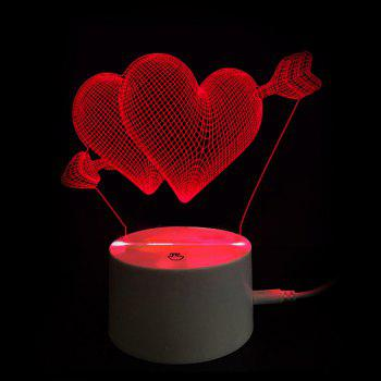 Valentine's Day Gift Arrow through Double Hearts Touch Switch 3D Vision Night Light