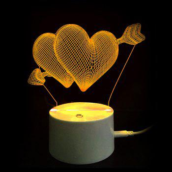 Valentine's Day Gift Arrow through Double Hearts Touch Switch 3D Vision Night Light - TRANSPARENT
