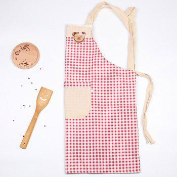 Bear Plaid Cooking Apron - RED 71*67CM