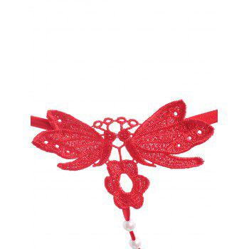 Faux Pearl Applique Lingerie T-back - RED RED