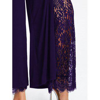 Plus Size High Split Lace Palazzo Pants - CONCORD 2XL
