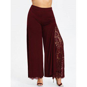 Plus Size High Split Lace Palazzo Pants - WINE RED WINE RED