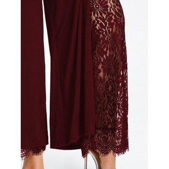 Plus Size High Split Lace Palazzo Pants - WINE RED 4XL