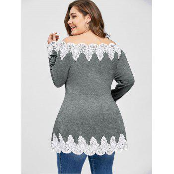Plus Size Off The Shoulder Embroidery Top - GRAY 5XL