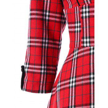 Empire Waisted Plaid Shawl Collar Dress - COLORMIX XL
