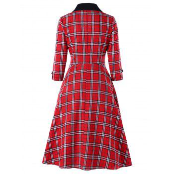 Empire Waisted Plaid Shawl Collar Dress - COLORMIX COLORMIX