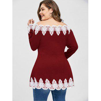 Plus Size Off The Shoulder Embroidery Top - WINE RED WINE RED