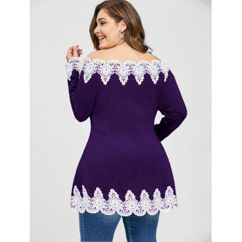 Plus Size Off Shoulder Floral Patchwork Top - PURPLE 5XL