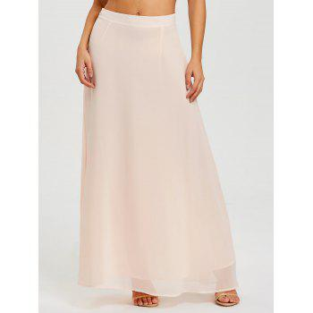 High Rise Long Ball Gown Skirt - LIGHT APRICOT PINK L