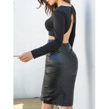 PU Leather Skirt and Crop Top - BLACK S