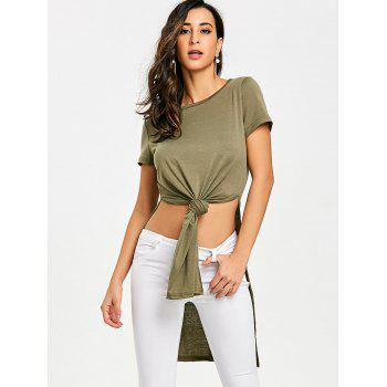 High Slit Front Knot Tee - ARMY GREEN S