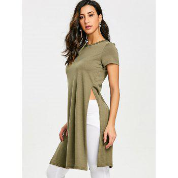 High Slit Front Knot Tee - ARMY GREEN L