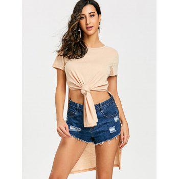 High Slit Front Knot Tee - APRICOT XL