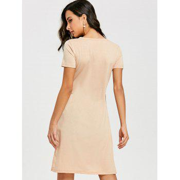 High Slit Front Knot Tee - APRICOT S