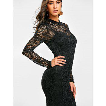Semi Sheer Lace Midi Bodycon Dress - BLACK L