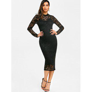 Semi Sheer Lace Midi Bodycon Dress - BLACK 2XL