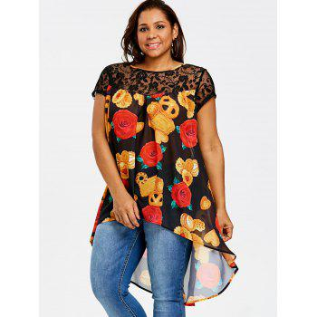 Plus Size High Low Floral Print Blouse - BLACK XL