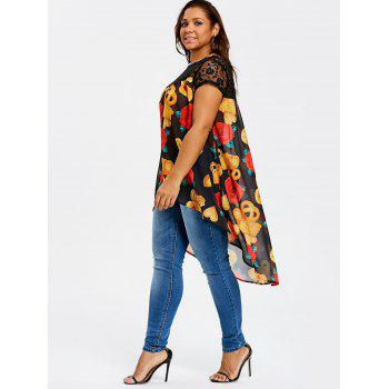 Plus Size High Low Floral Print Blouse - BLACK 4XL
