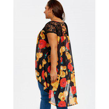 Plus Size High Low Floral Print Blouse - BLACK 2XL