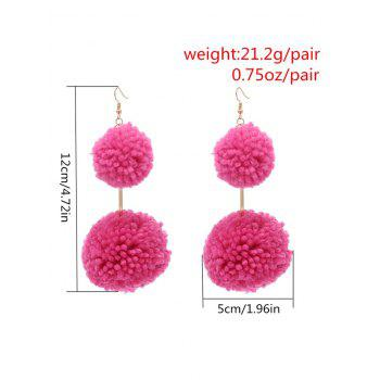 Double Hairball Alloy Hook Dangle Earrings - ROSE RED