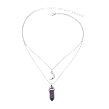 Layered Natural Stone Bullet Moon Collarbone Necklace - SILVER
