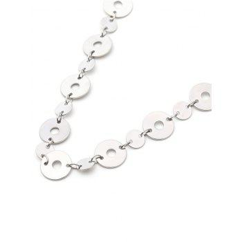 Metal Round Sequin Adjustable Choker Necklace - SILVER