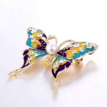 Rhinestone Artificial Pearl Butterfly Brooch - GOLDEN