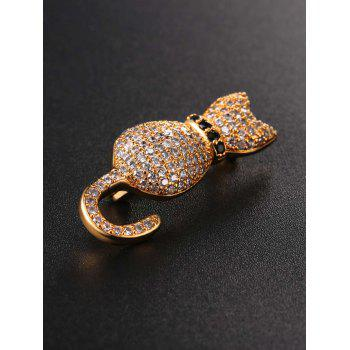 Broche chaton strass minuscule - Or