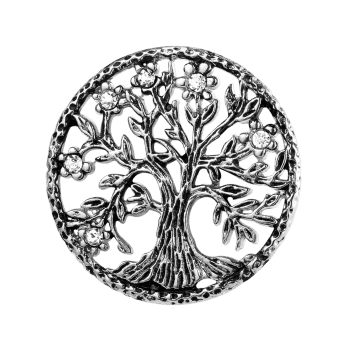 Rhinestone Stainless Steel Tree of Life Brooch - SILVER