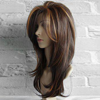 Long Oblique Bang Layered Natural Straight Colormix Synthetic Wig - COLORMIX