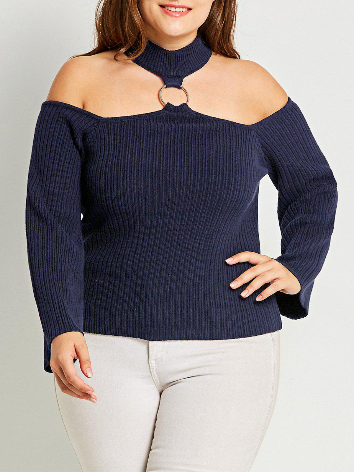 Plus Size Choker Ribbed Sweater - PURPLISH BLUE 3XL