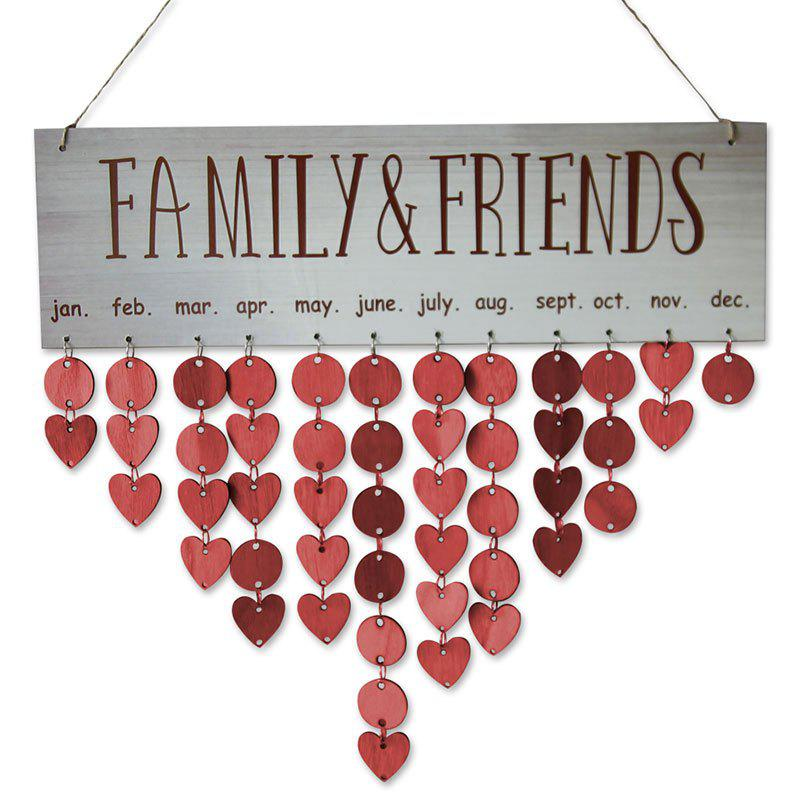 Wooden DIY Family and Friends Birthday Reminder Hanging Plaque Calendar