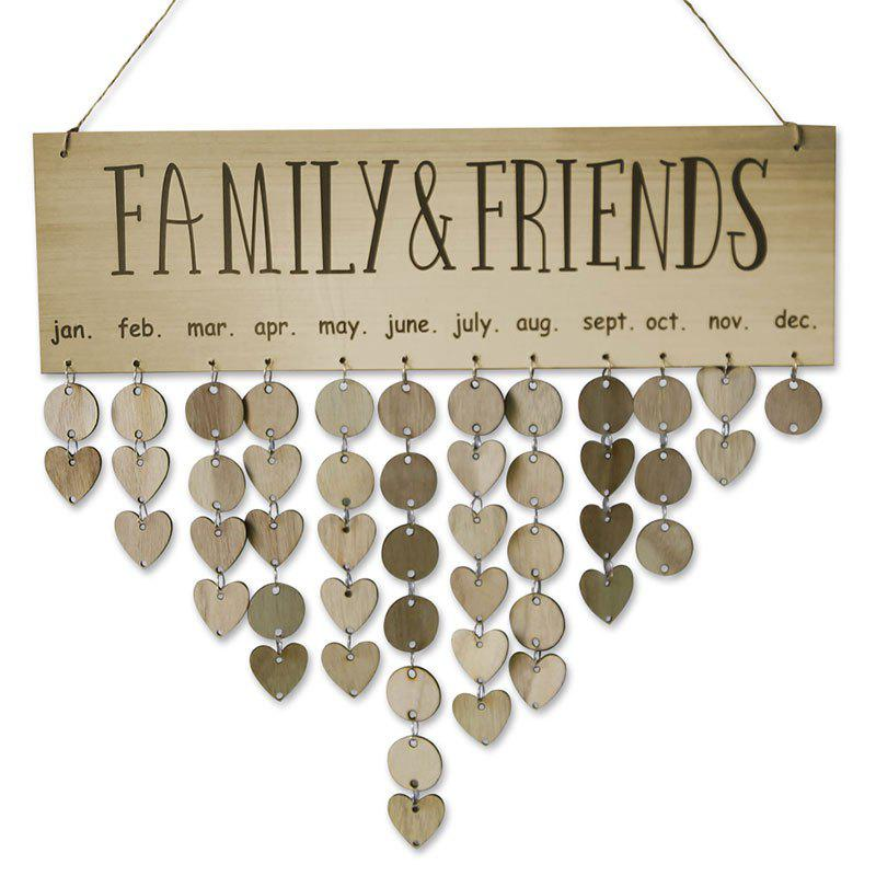 Wooden DIY Family and Friends Birthday Reminder Hanging Plaque Calendar wooden colorful birthday reminder sign diy hanging calendar board family friends birthday reminder date mark home decor