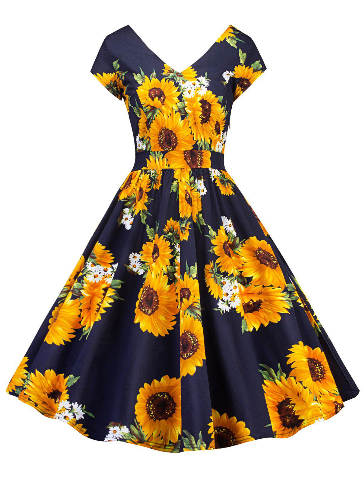 Retro Sunflower Print Pin Up Skater Dress retro butterfly pattern skater dress