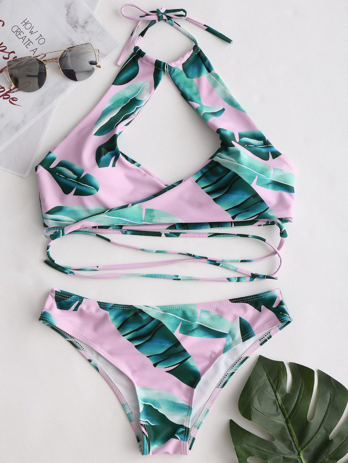 Wrap Leaves Pattern Bikini Set wrap leaves pattern bikini set