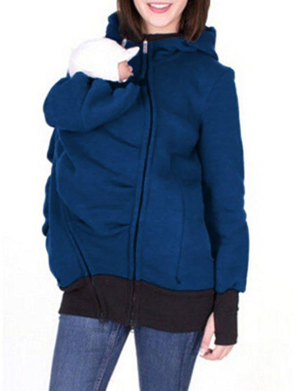 Zip Up Baby Holder Hoodie - BLUE L