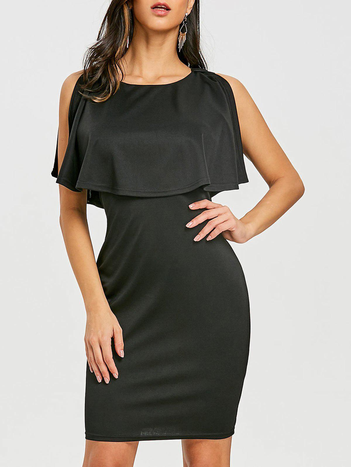 Open Back Caplet Dress - BLACK XL