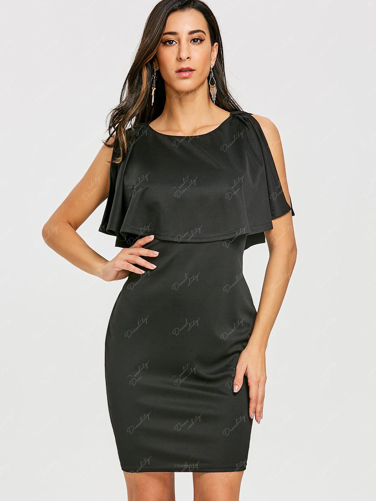 Scoop Neck Caplet Dress - BLACK L