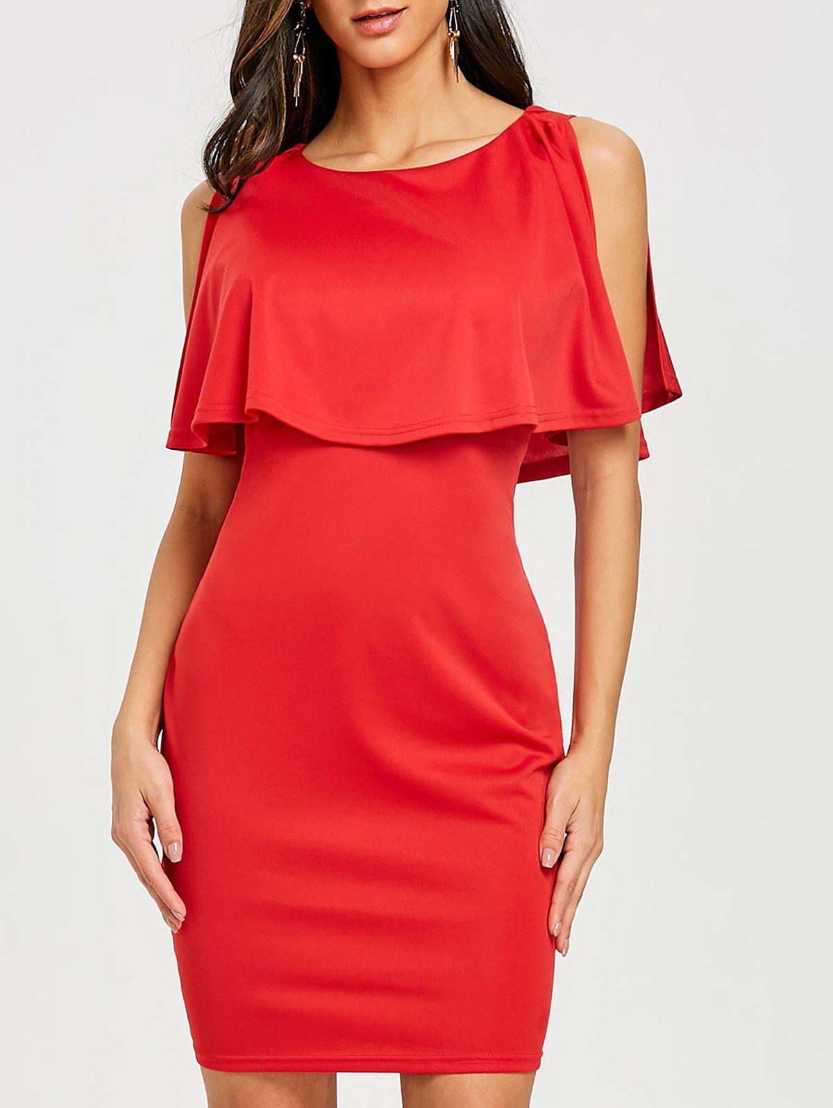 Open Back Caplet Dress - RED XL