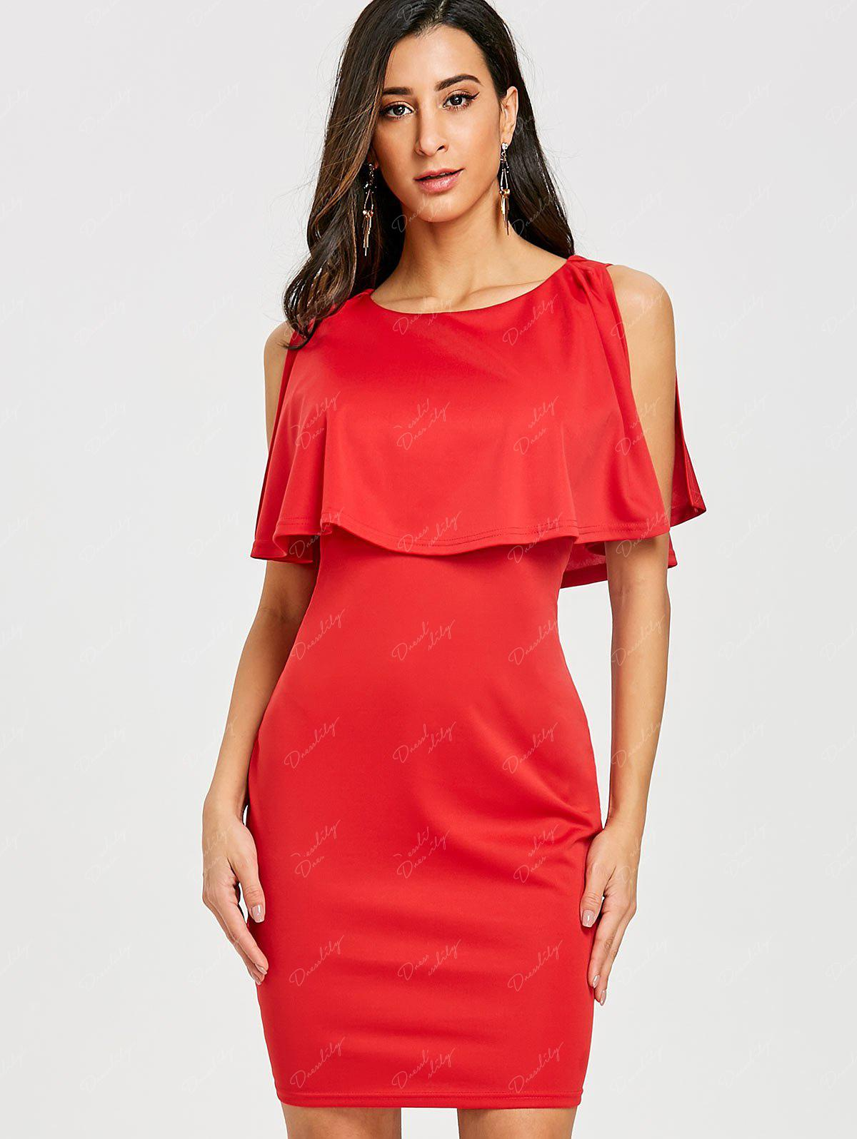 Scoop Neck Caplet Dress - RED M