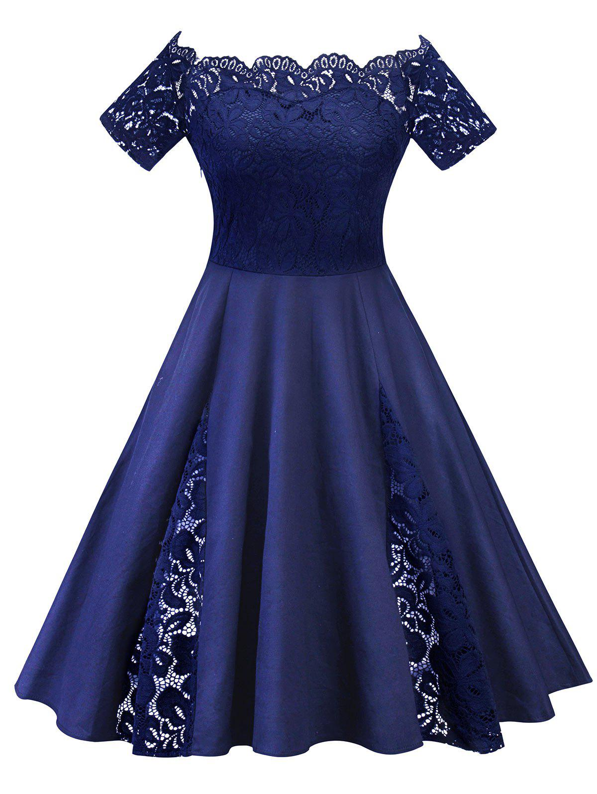 Plus Size Off Shoulder Lace Panel Dress - PURPLISH BLUE 5XL
