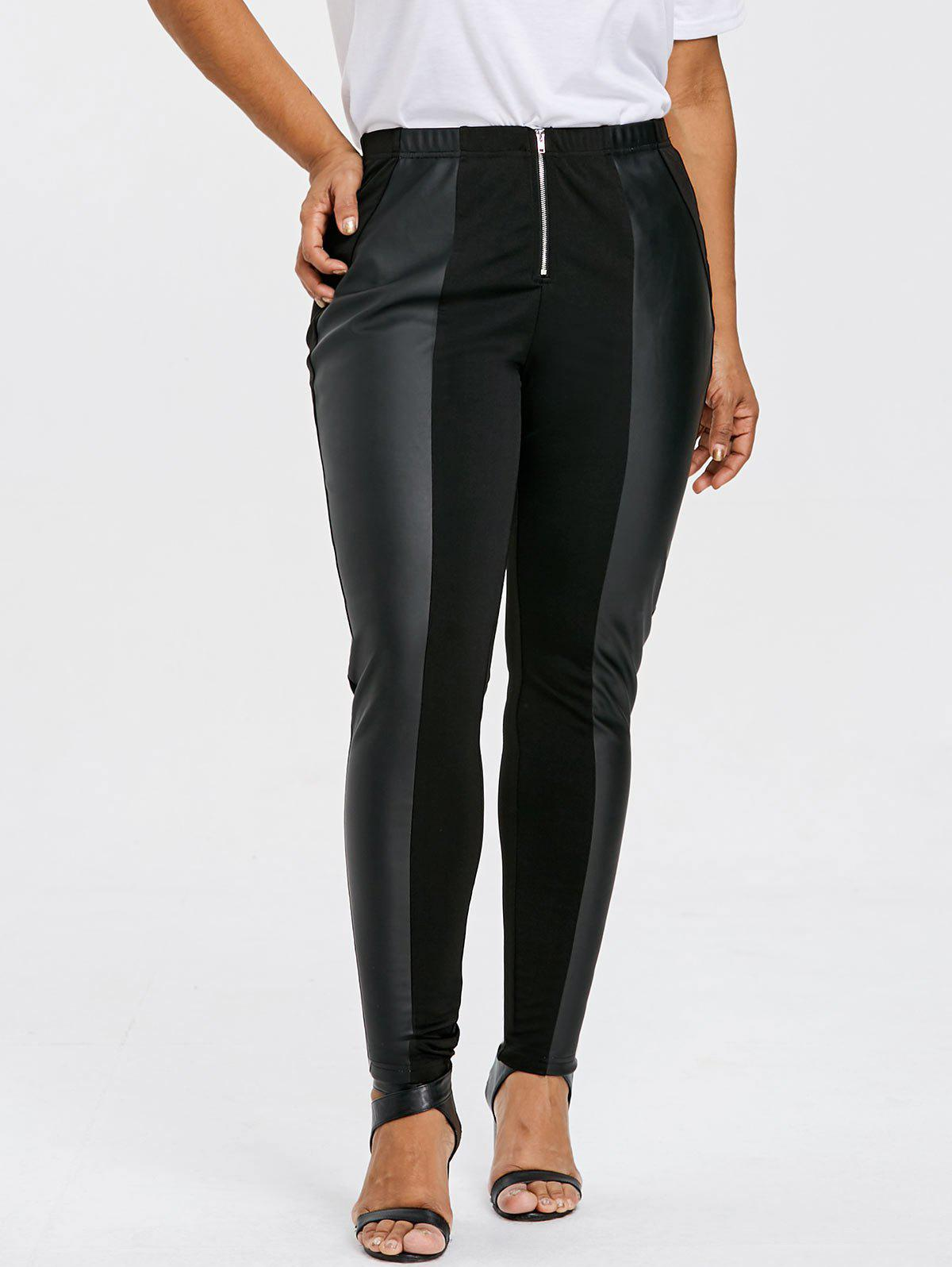 Plus Size Zip Front Skinny Pants - BLACK XL