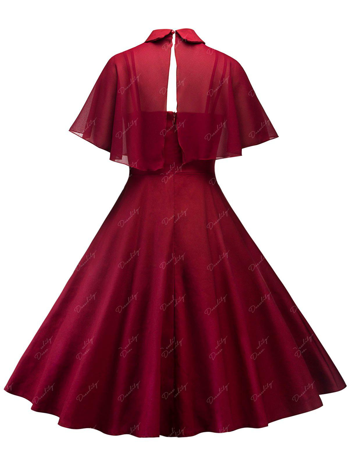 Vintage Pin Up Dress With Mesh Cape - WINE RED M