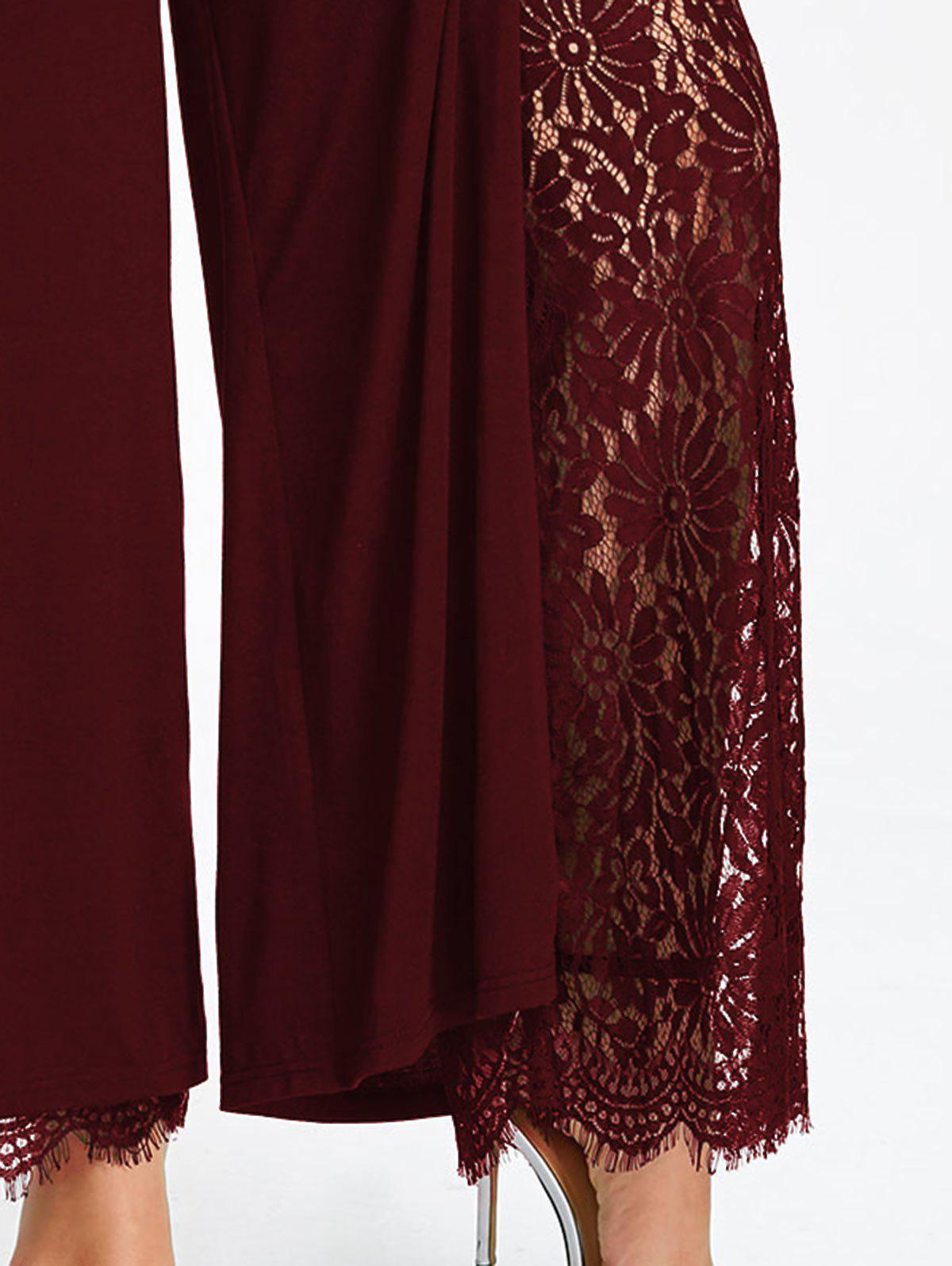 Plus Size High Split Lace Palazzo Pants - WINE RED 3XL