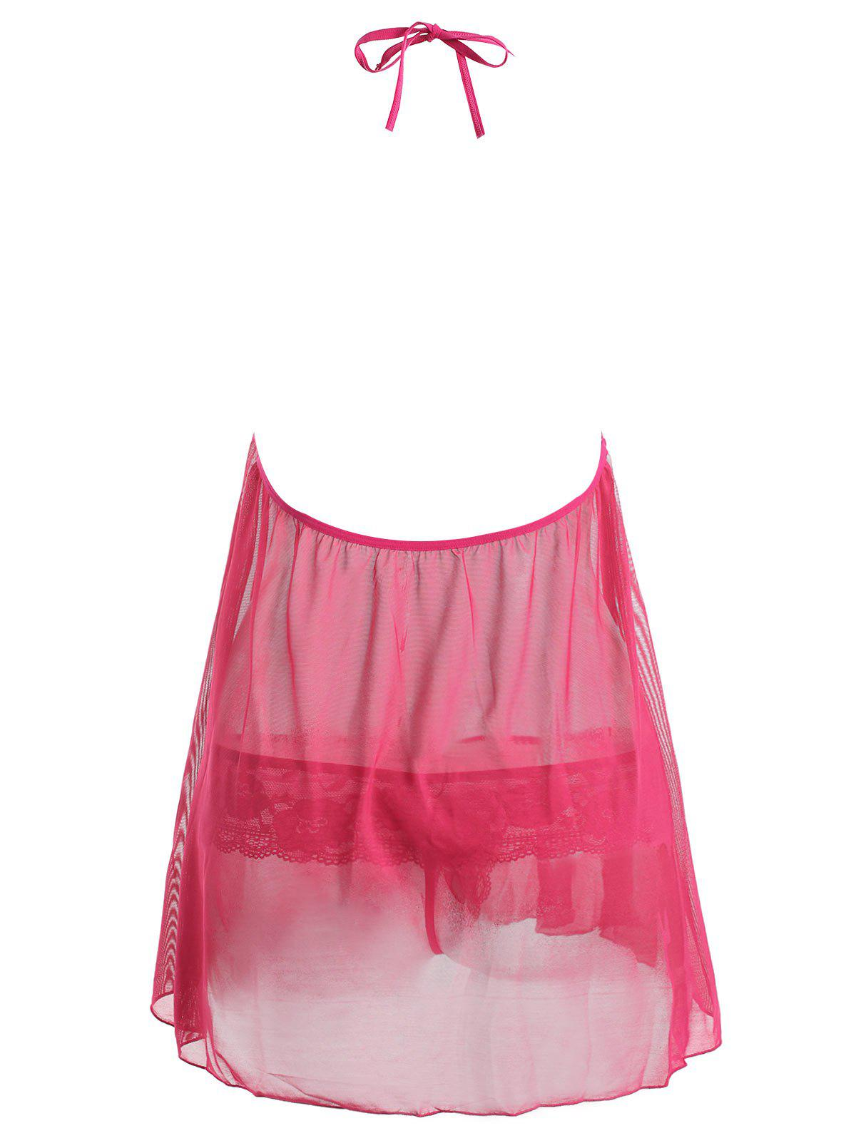 Halter Plunge Plus Size Lace Sheer Babydoll - ROSE RED 6XL