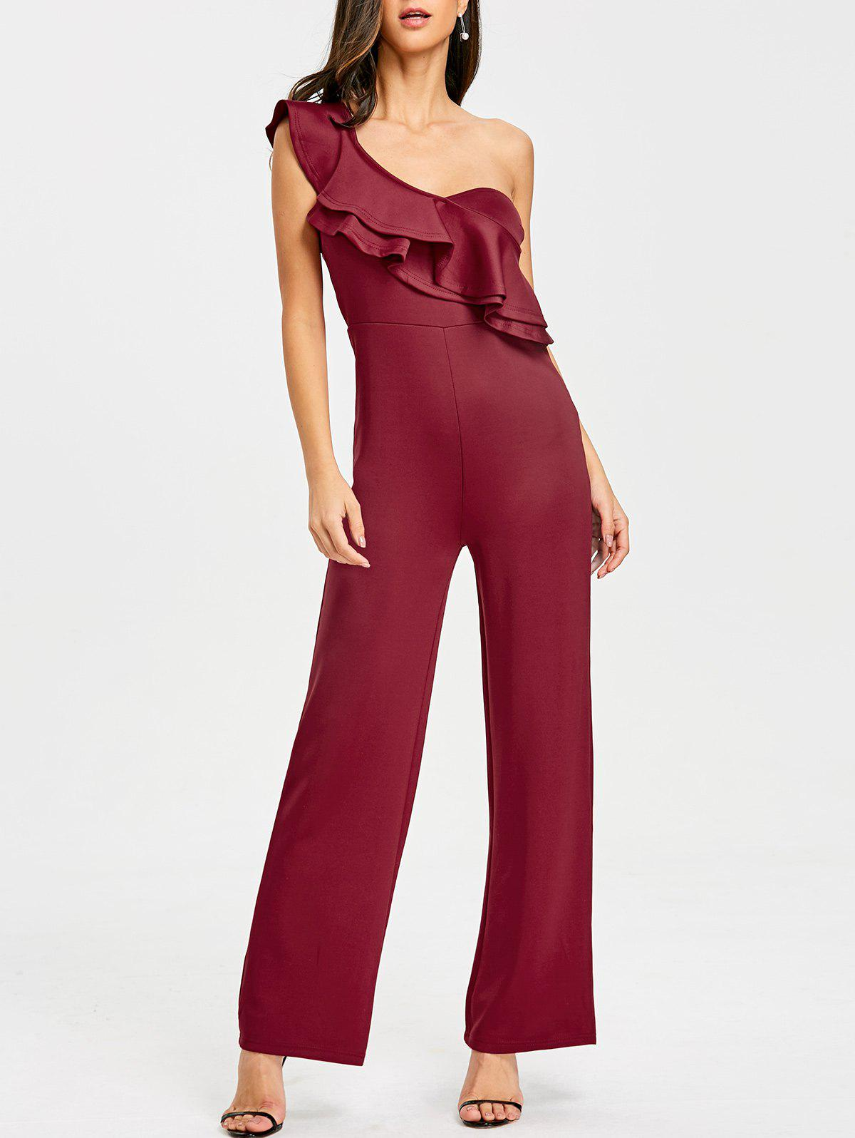 One Shoulder Flounce Wide Leg Jumpsuit - CLARET S